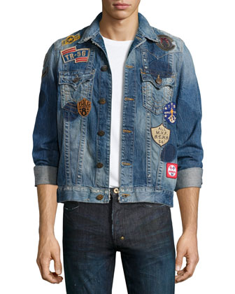 Jimmy Patchwork Western Denim Jacket, Indigo