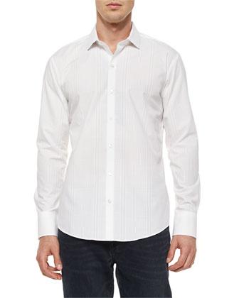 Tonal-Stripe Woven Long-Sleeve Shirt, White