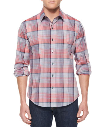 Woven Plaid Long-Sleeve Shirt, Red Pattern
