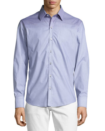 Graduated Stripe Sport Shirt, Gray Pattern