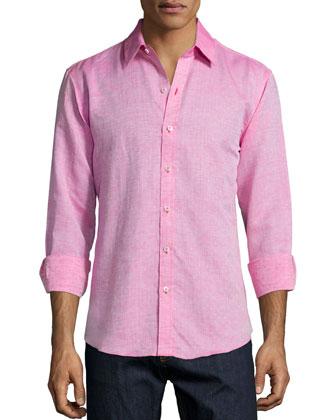 Dotted Linen/Cotton Sport Shirt