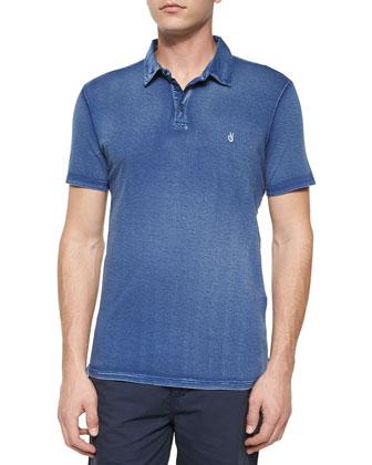 Short-Sleeve Peace Sign Polo Shirt, Blue