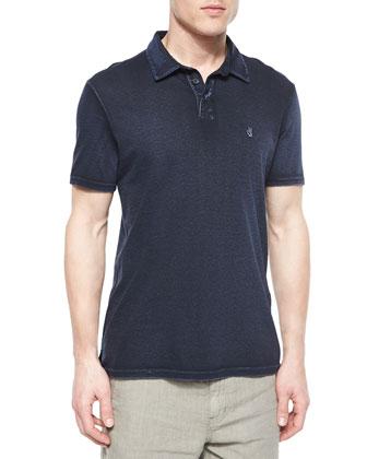 Short-Sleeve Peace Polo Shirt, Blue