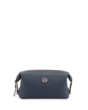 Chassis Leather Wash Bag, Navy