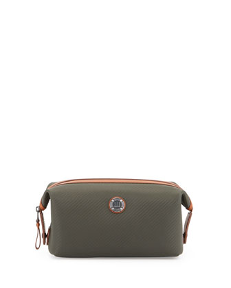 Chassis Leather Wash Bag, Green