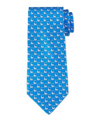 Woven Chicken-Print Tie, Blue