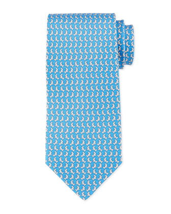 Fish-Print Woven Tie, Light Blue