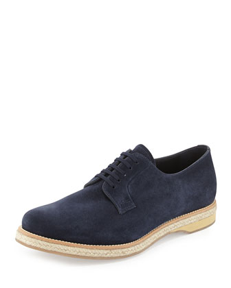 Suede Lace-Up Espadrille Shoe, Blue