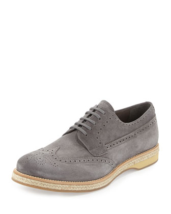 Suede Wing-Tip Espadrille Shoe, Gray