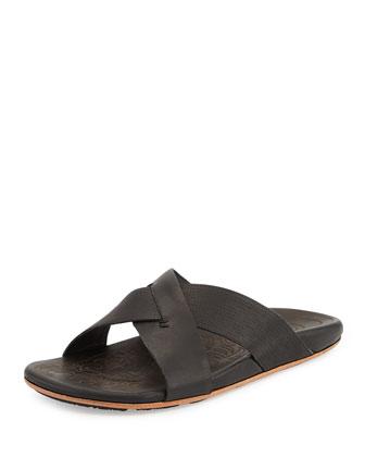 Punono Crisscross Slide Sandal, Black