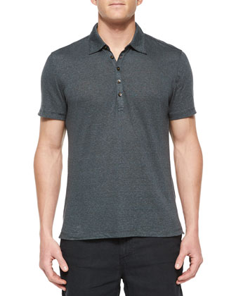 Short-Sleeve Knit Polo Shirt, Black