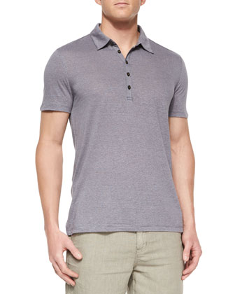 Short-Sleeve Knit Polo Shirt, Dark Purple