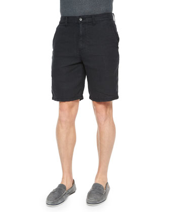 Triple-Needle Woven Linen Shorts, Black