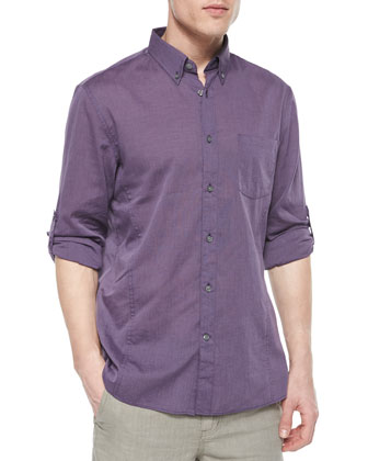 Solid Roll-Tab Woven Shirt, Purple