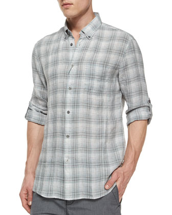 Plaid Roll-Tab Woven Linen Shirt, Blue