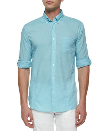 Solid Roll-Tab Woven Shirt, Light Aqua