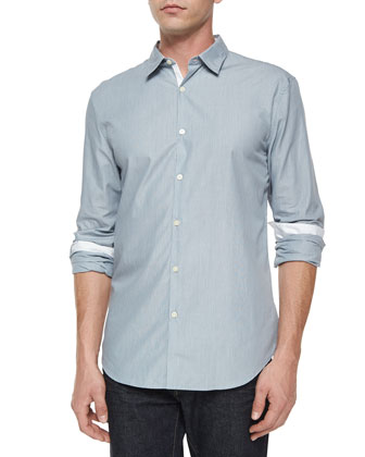 Slim-Fit Contrast Placket Shirt, Blue