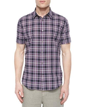 Plaid Short-Sleeve Shirt, Indigo