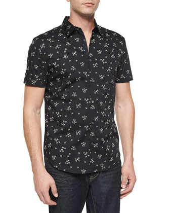Floral-Printed Short-Sleeve Sport Shirt, Black