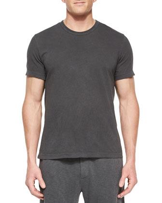 Crewneck Short-Sleeve Knit Tee, Charcoal