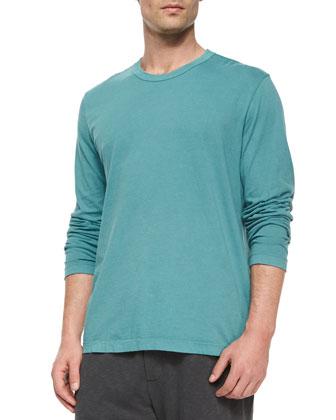 Crewneck Long-Sleeve Shirt, Light Blue