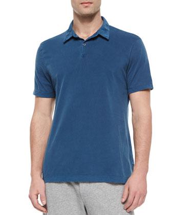 Short-Sleeve Jersey Polo Shirt, Slate