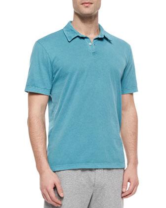 Short-Sleeve Jersey Polo Shirt, Light Blue