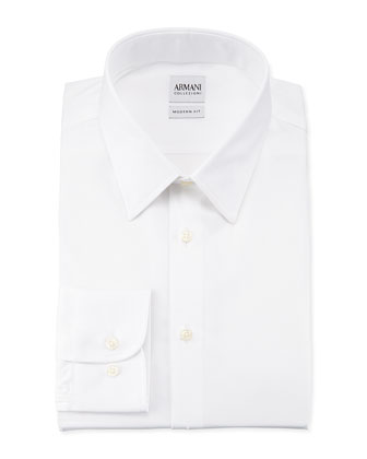 Modern Fit Textured White-on-White Dress Shirt
