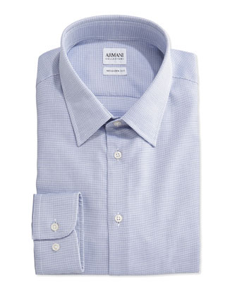 Modern-Fit Micro-Check Woven Dress Shirt, Blue/White