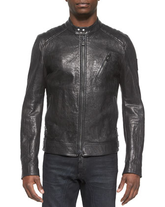 Kirkham K Racer Leather Jacket, Charcoal