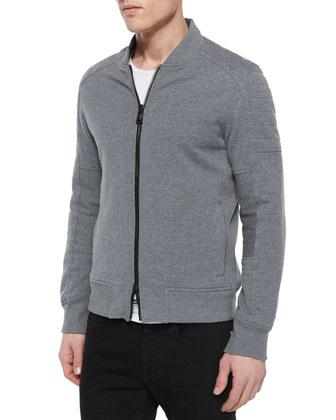 Deveron Moto Zip-Up Fleece Jacket, Gray