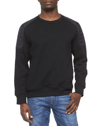 Chanton Moto Fleece Sweater, Black