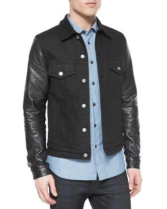 Stockfield Leather-Sleeve Denim Jacket, Lowry Chambray Long-Sleeve Shirt & ...