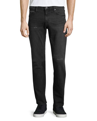 Bowery Washed Slim-Fit Jeans, Black
