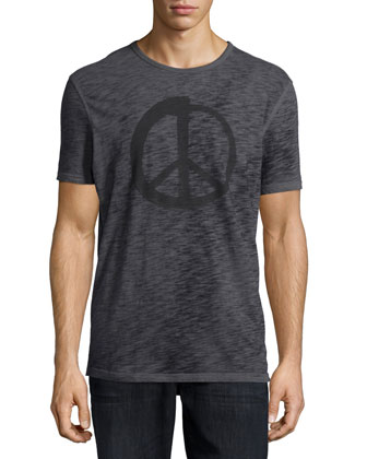 Peace Graphic Knit Tee, Gray