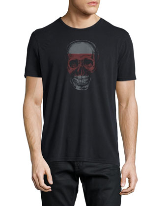Skull-Graphic Short-Sleeve Jersey Tee, Black