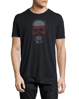 Skull-Graphic Short-Sleeve Jersey Tee, Black