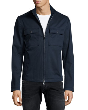 Chest-Pocket Zip Jacket, Indigo