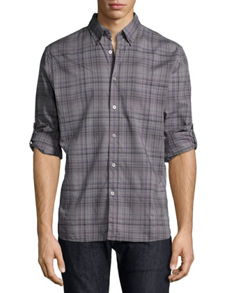 Plaid Roll-Tab Woven Shirt, Purple