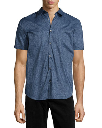 Floral-Print Short-Sleeve Woven Shirt, Blue
