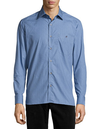 Dot Print Sport Shirt, Blue