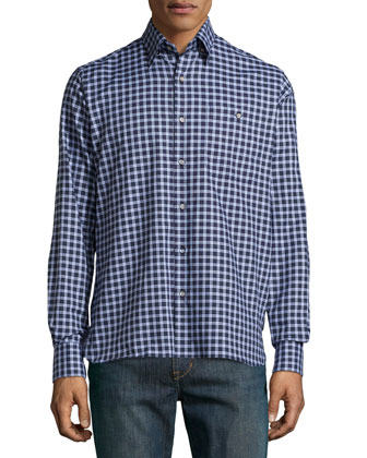 Check Sport Shirt, Brown/Blue