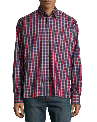 Check Sport Shirt, Red/Blue