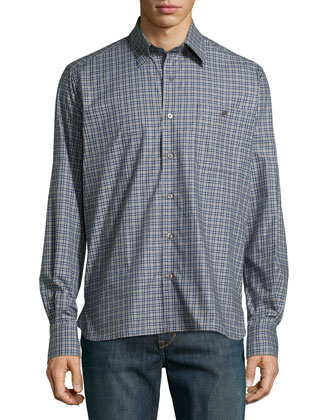 Check Sport Shirt, Gray/Blue