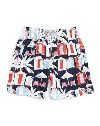 Jam Cabana-Print Swim Trunks, Navy, Size 10-14