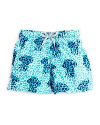 Jim Jellyfish-Print Swim Trunks, Blue, Boys' 2-8
