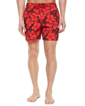 Moorea Floral-Print Swim Trunks, Red