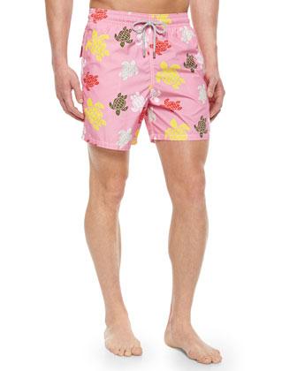 Moorea Turtle-Print Swim Trunks, Pink