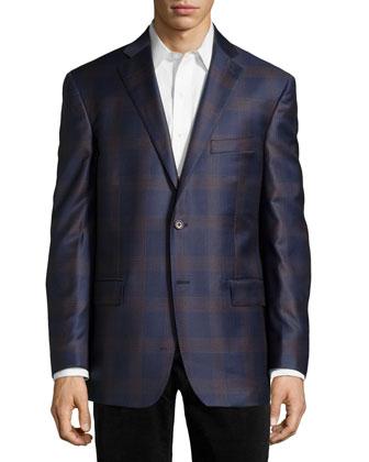 Plaid Sport Coat, Navy/Brown, Regular Length