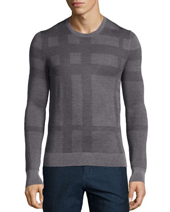 Tonal Check Crewneck Sweater, Gray